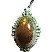 SALE Beautiful Large Mexican Sterling & Hardstone Pendant Necklace