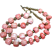 "SALE 24"" Hand Carved Large 16mm Coral Melon Bead Necklace"