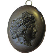 Loveliest Victorian Carved Vulcanite Cameo Locket