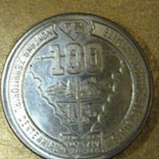 1964 - Montana 100th Year Territory Centennial Sterling Souvenir Dollar - 38.5mm