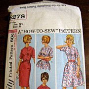 "SALE Super 1960's Simplicity Day Dress Pattery, Half Size 12 1/2"" Bust 33"