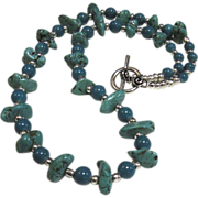 SALE Lovely Howlite and Turquoise Glass Bead Necklace
