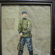 SOLD Early Needlepoint & Petite Pointe Picture of a Confederate Infantry Soldier