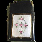 Black Marathon Compact/Cigarette Case/Lighter, Enamel Guilloche,Hand Painted Roses!
