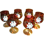SALE 6 Bohemian Pink Gilt and Enameled Brandy Snifters