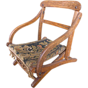 SALE Antique Campaign Folding Doll Chair, Old Brocade!