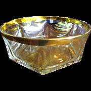 Beatuiful Large Crystal Bowl, Deep Gold Encrusted Rim