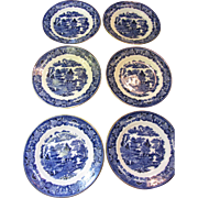 Six Beautiful English Gilt Blue Willow  Plates, Lovely Quality
