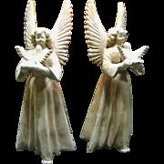 """SALE Lovely Pair of Large 11"""" Terracotta Angel Taper Holders"""