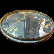SALE Retro Elegant Marbled Mirror Vanity Stand with Filigree Border
