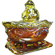 SALE Santa on a Sleigh Candy Dish, Amber Carnival Glass!