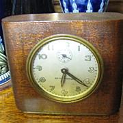 Vintage Seth Thomas Alarm Clock Brown Leather Casing
