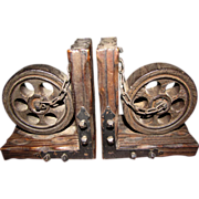 SOLD Mid Century Gothic Bookends, Wheels, Chains, Studs!