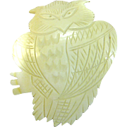 "Huge 3 1/2"" Carved Shell Owl Pin, Very Detailed!"