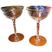 Superb Pair of Wheel Cut Sherry Glasses, Prismatic Stems!