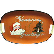 SALE Mid Century Jolly Santa Christmas Serving Tray, Cool!