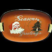 SALE Mid Century Jolly Santa Christmas Serving Tray, Cool!