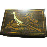 Lovely Indian Hardwood Box with Inlaid Bird