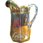 "Large 9"" Antique Gilt Pressed Glass Paneled Pitcher"
