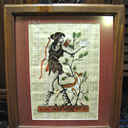 Lovely Framed Greek Papyrus Painting of Artemis