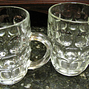 Pair of Vintage Glass Dimple Beer Mugs, One English Pint