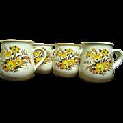 SALE Four Lovely 1960's Floral Transfer Mugs