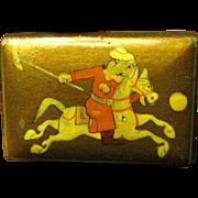 SALE Mongolian Polo Player Match Box Holder, Fun!