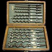 SALE Vintage Irwin Auger Drill Bit Set w/ Original Wooden Box