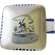 Delft Hand Painted Blue Windmill Small Ashtray, Nice!
