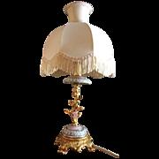 SALE Italian FBAI Florentine Boudoir Lamp, Exquisite Gilt Bronze, Pink Porcelain Flowers!