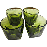 SALE 4 Avocado Green Cube Shaped Old Fashioned Tumblers