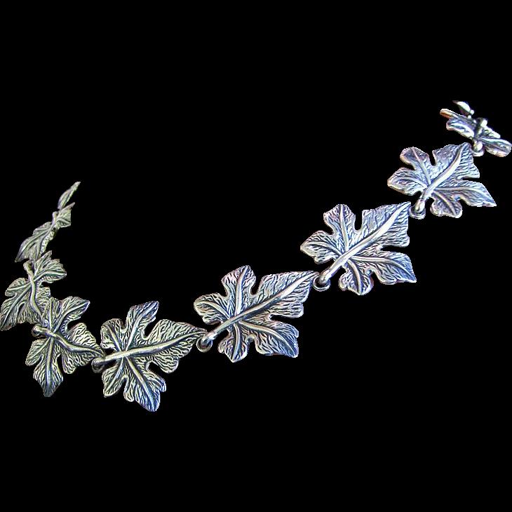 Stunning Heavy 45 grm Danecraft Sterling Silver Leaf Necklace