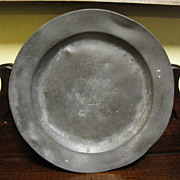 """Antique Pewter English Plate with London mark 9 1/2"""""""