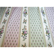4 7/8 Yds Charming 14 Color Screen Printed Floral Striped Cotton