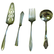 SALE 4 Misc. Vintage Silver Plated Servers, Cake Slice, Meat Fork, Sauce Spoon & Butter Knifeâ