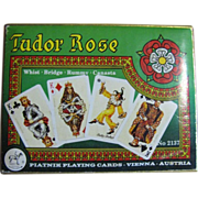 SOLD Piatnik Tudor Rose Playing Cards - 2 Decks Boxed #2137. Mint Condition