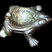 Old Cast Gilt Bronze Frog Ash or Trinket Tray