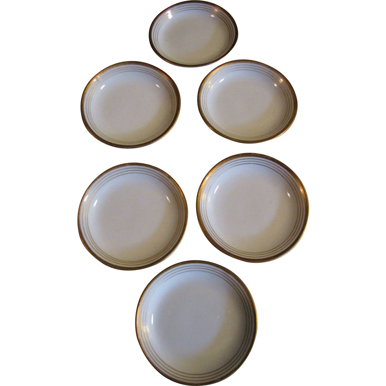 Nice Set 6 Antique French Limoges Butter Pats, Banded Gilt Edges