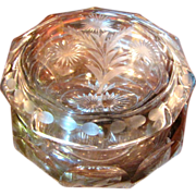 Beautiful Cut Glass Powder or Dresser Box by Heisey‏