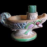 SALE Great Czechoslovakian Espaxa Art Pottery Candle Holder