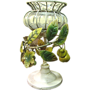 SALE Organic Tole Centerpiece, Fruits & Leaves, Blown Glass Bowl