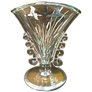 SALE Art Deco Sterling Overlay Fan Vase with Egret Decoration