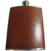 Classic Vintage English Stainless Hip Flask with Brown Leather Cover
