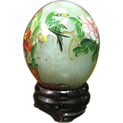 SALE PENDING Green Chinese Jade Egg with Hand Painted Flowers & Bird on Wood Stand