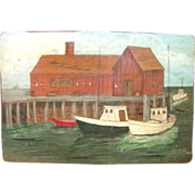 Naive Harbor Scene, Oil on Board, circa 1960's