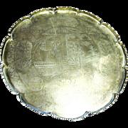 """SALE 14"""" Tray, Geisha Design, Antique Chinese Brass"""
