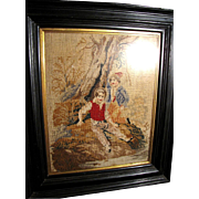 SALE Antique Victorian Needlepoint, Ebonized Frame, Boys by River