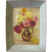 SALE Attractive Mid Century Floral Still Life Impressionist Oil Painting