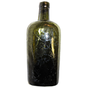 SALE 1880s Early Crude Lip Flask Bottle Olive Green