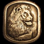 1976 Lion Head Pewter Belt Buckle Indiana Metal Crafts